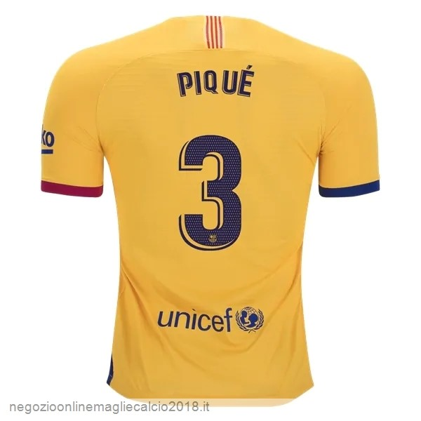 NO.3 Pique Away Online Maglie Calcio Barcellona 2019/20 Giallo