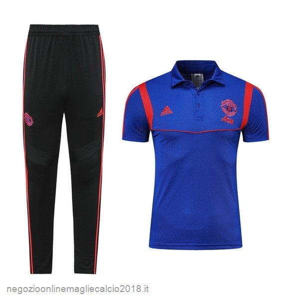 Online Set Completo Polo Manchester United 2019/20 Blu Rosso